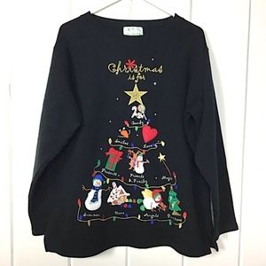 """Christmas Is For"" Black Appliqué Sweatshirt - M"